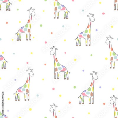 Fototapeta Seamless cute giraffe pattern. Colorful vector background for kids.