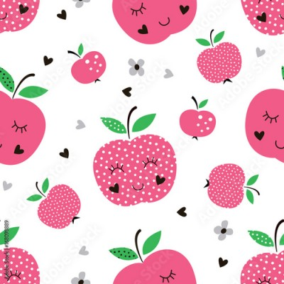 Fototapeta Seamless pattern with abstract apples