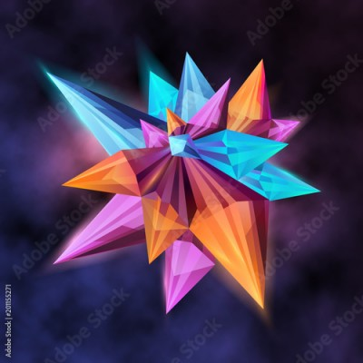 Fototapeta Vector illustration, trendy background with abstract dimensional shape with facets.
