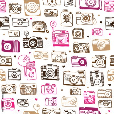 Fototapeta Seamless photo camera doodle pattern in vector