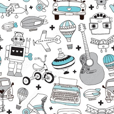Fototapeta Seamless vintage boys toys background pattern in vector