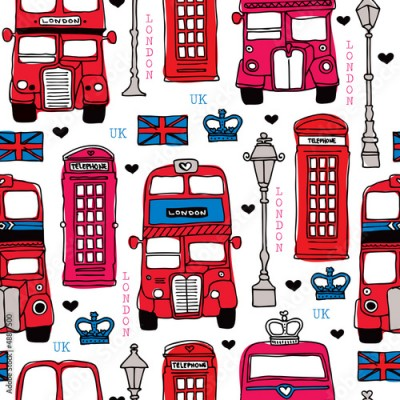 Fototapeta Seamless love London UK red travel icon background pattern
