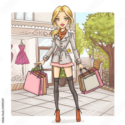 Fototapeta Fashion girl at shopping