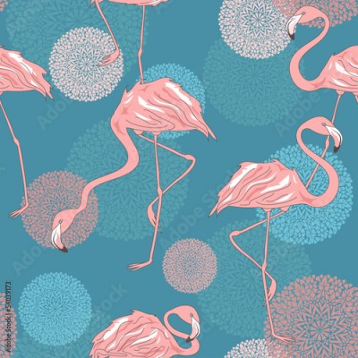 Fototapeta Seamless pattern of flamingos