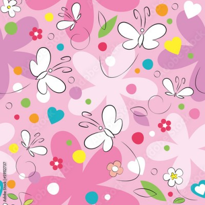 Fototapeta butterflies and flowers pattern