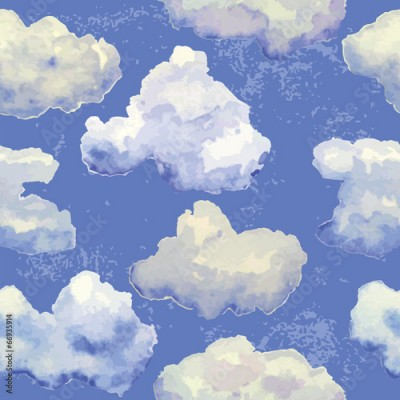 Naklejka Vector seamless pattern with watercolor blue clouds