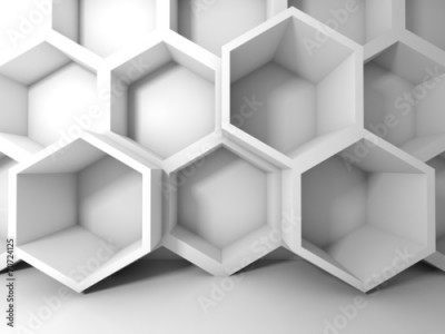 Fototapeta Abstract white honeycomb structure on the wall. 3d interior back