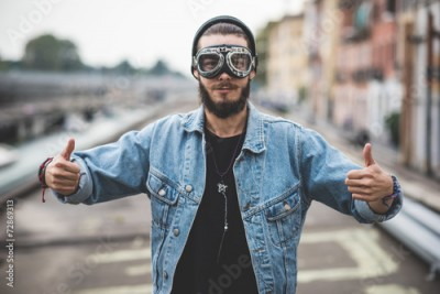 Fototapeta young handsome bearded hipster man