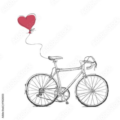 Fototapeta Vintage Valentines Illustration with Bicycle and Heart Baloon