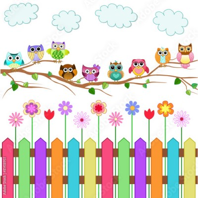 Fototapeta Cute Owls on a Branch Vector