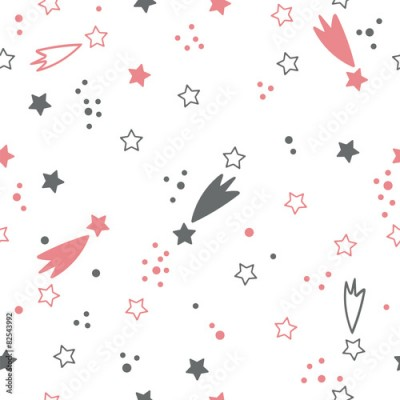 Naklejka Cute seamless pattern with stars. Space background