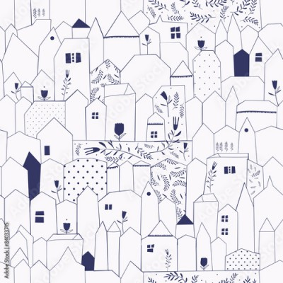 Fototapeta Seamless pattern. Figure cities in vintage style.