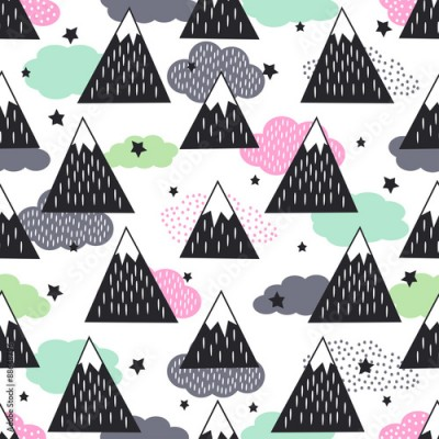 Fototapeta Seamless pattern with geometric snowy mountains, clouds and stars. Graphic nature illustration. Abstract mountains background.