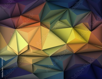 Fototapeta Vector illustration Abstract 3D Geometric, Polygonal, Triangle pattern shape and multicolored,blue, purple, yellow and green background
