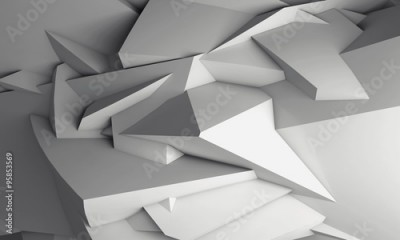 Fototapeta Abstract white digital 3d chaotic polygonal surface