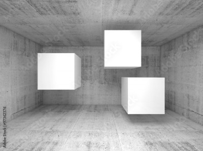 Fototapeta Abstract concrete interior, flying cubes 3 d