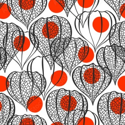 Fototapeta Seamless pattern with physalis. Abstract floral background.