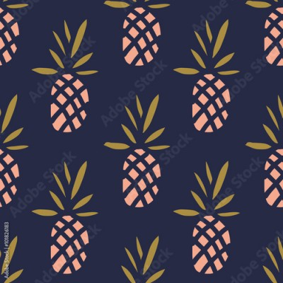 Fototapeta Pineapples on the dark background. Vector seamless pattern with tropical fruit.