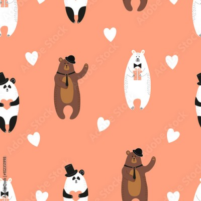 Naklejka Cute bears pattern. Seamless romantic background with polar bear, brown bear and panda.