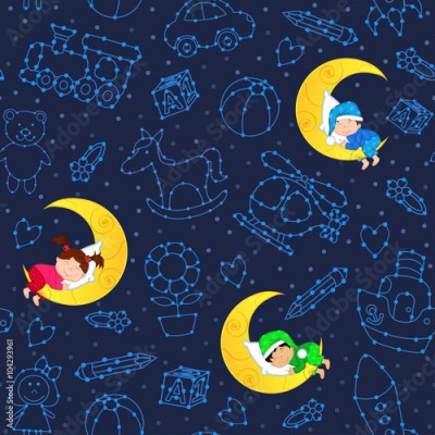 Fototapeta seamless pattern with children sleeping on moon among stars - vector illustration, eps