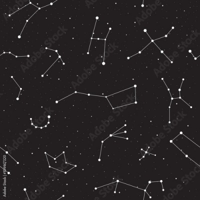 Fototapeta Starry night, seamless pattern, background with stars and constellations, vector illustration