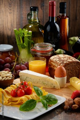 Fototapeta Composition with variety of organic food products