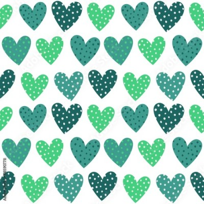 Naklejka Cute Turquoise Hearts With Dots Seamless Pattern