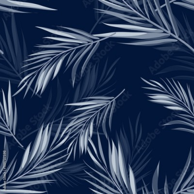 Fototapeta Tropical seamless monochrome blue indigo camouflage background with leaves and flowers