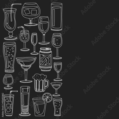 Fototapeta Alcohol drinks and cocktails icon set