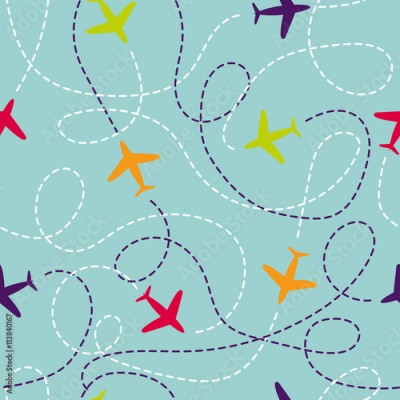Fototapeta Seamless pattern with airplanes. Vector background with colorful planes. Travel around the world concept. Illustration can be used for wallpaper, backgrounds, web page design, kids textile.