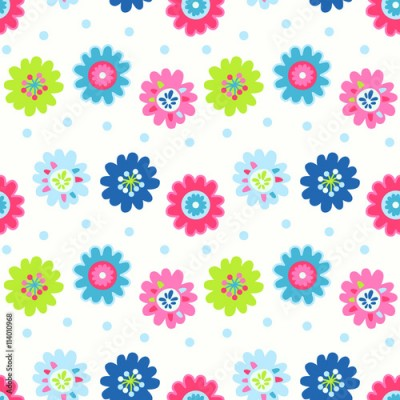 Fototapeta Cute seamless vector pattern with flowers