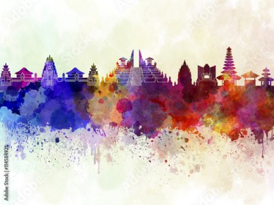Fototapeta Bali skyline in watercolor background