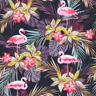 Fototapeta Tropical summer seamless pattern with flamingo birds and exotic plants