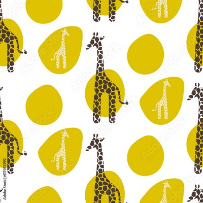 Fototapeta Giraffe vector seamless pattern. Giraffe brown and white texture stains. Safari wild animal background with green spots for baby kid apparel.