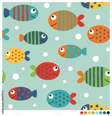 Fototapeta Colorful fish cartoon seamless vector pattern