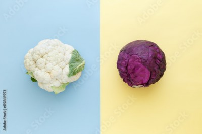 Fototapeta Cauliflower and red cabbage on a bright color background. Seasonal vegetables minimal style. Food in minimal style.