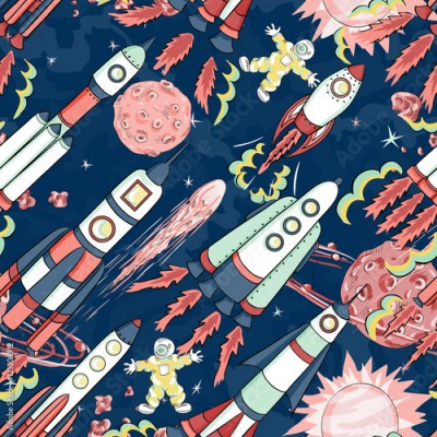 Fototapeta spaceship seamless pattern