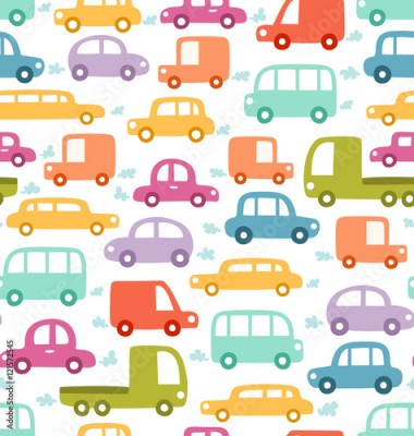 Fototapeta Cartoon cars seamless pattern