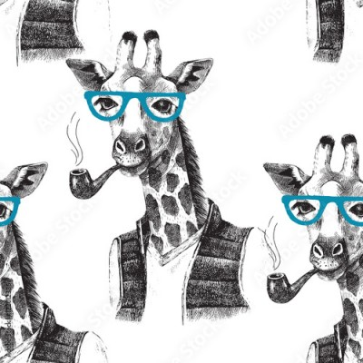 Fototapeta Seamless pattern with dressed up giraffe hipster
