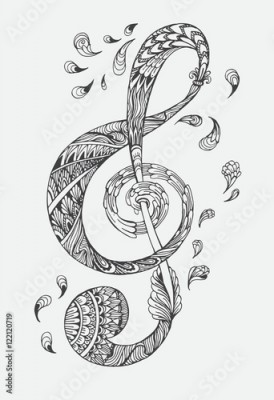 Naklejka Hand-drawn music key with ethnic ornaments doodle pattern. Vector illustration Henna Mandala Zentangle stylized for Cover book or card, tattoo more. Design for spiritual relaxation for adults.