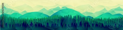 Fototapeta Low poly mountains landscape vector background. Polygonal shapes peaks with snow on top and trees around. Sunset wallpaper. Eps10 illustration.