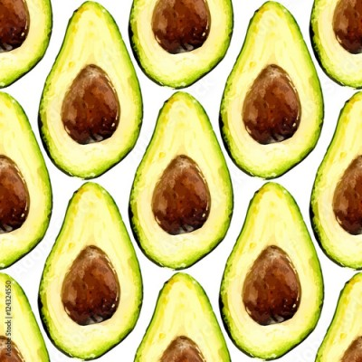 Fototapeta Beautiful avocado repeated pattern, consisted of halves of a fruit with pit. Vector illustration.