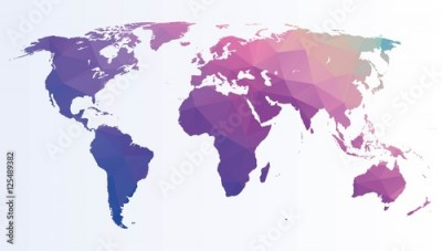Fototapeta Polygonal world map