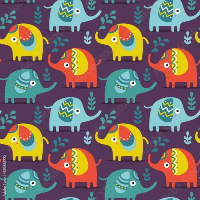 Fototapeta Seamless pattern with elephants, plants, jungle