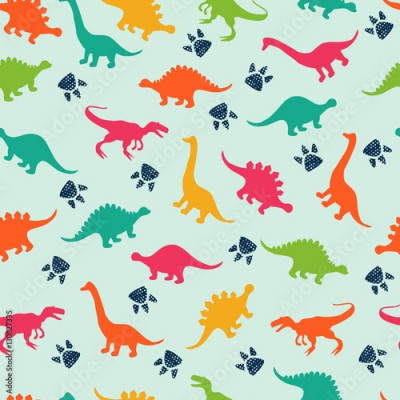 Fototapeta Cute kids pattern for girls and boys. Colorful dinosaurs on the abstract grunge background create a fun cartoon drawing. The background is made in neon colors. Urban backdrop for textile and fabric.