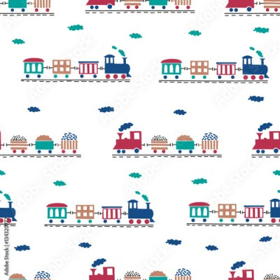 Fototapeta Toy trains seamless pattern. Vector background for kids design.