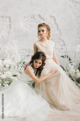 Fototapeta samoprzylepna Two beautiful bride in luxury lace dress in the room with a delicate decor, light