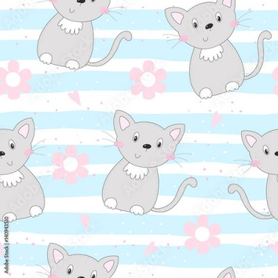 Fototapeta Cute cats colorful seamless pattern background