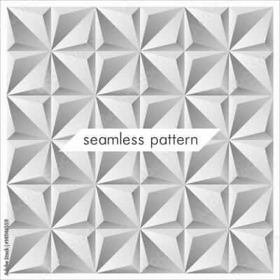Fototapeta White texture seamless pattern. Abstract 3d geometric background. Decorative background for cards, invitations, web design.