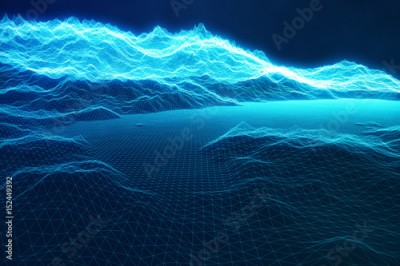 Fototapeta 3D illustration concept internet connections in cloud computing. Cyberspace landscape grid. 3d technology. Abstract blue landscape on black background with light rays.